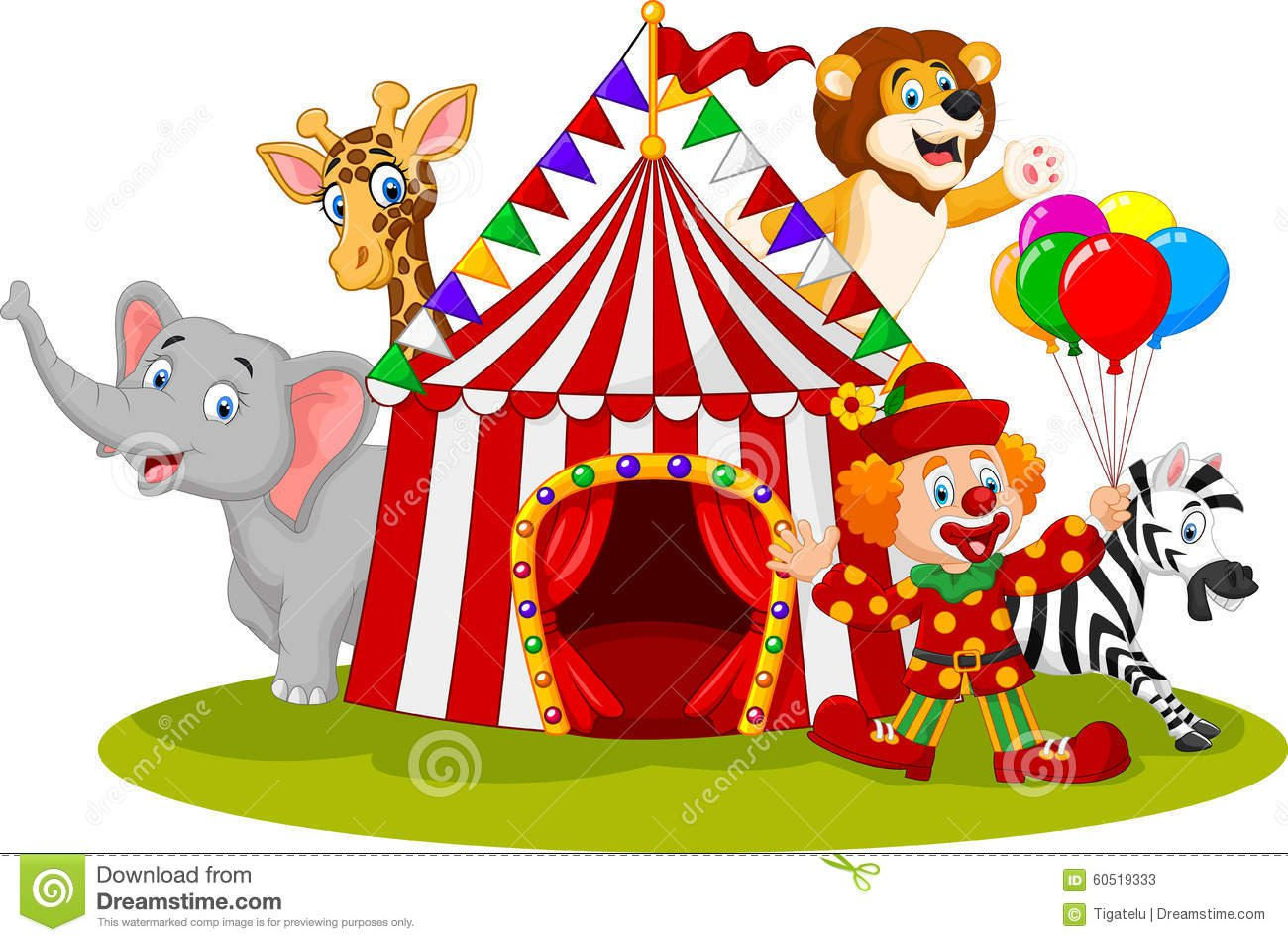 Circo E Palhaço Animais Felizes Dos Desenhos Animados Ilustração