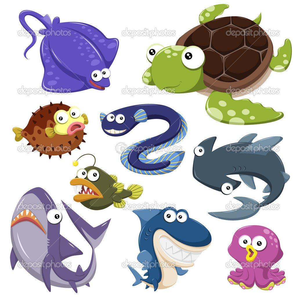 Coleção De Illusration Animais Dos Desenhos Animados Do Mar