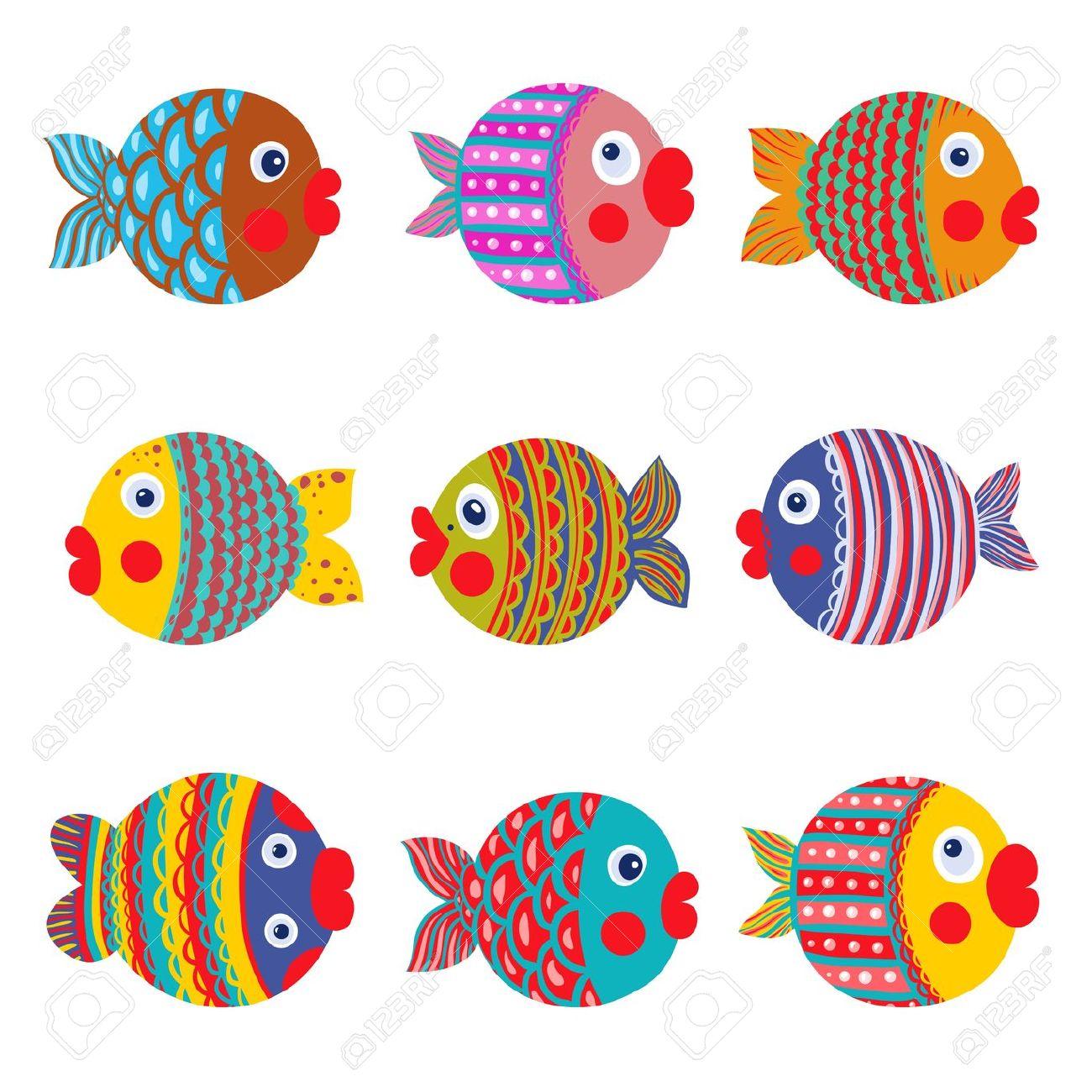 Coleção Dos Peixes Coloridos Gráfico Dos Desenhos Animados