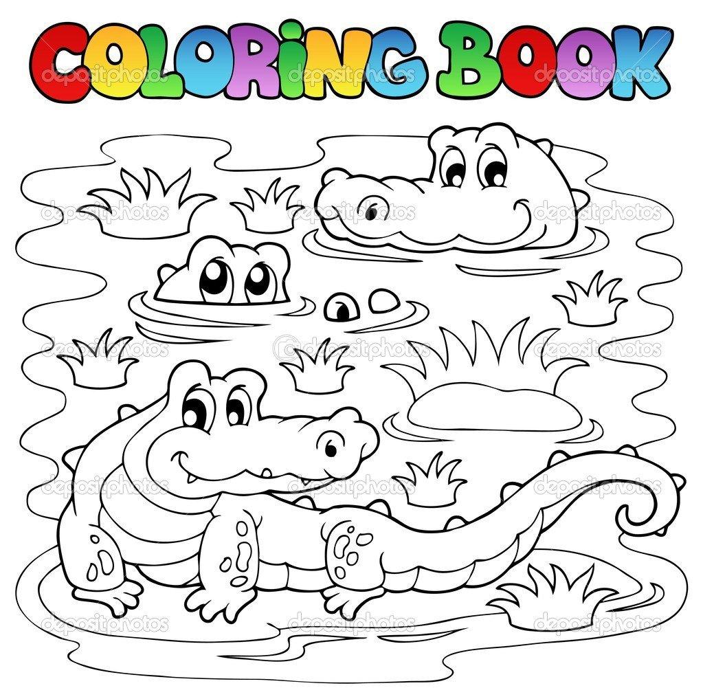 Colorir Livro Crocodilo Imagem 1 — Vetores De Stock © Clairev