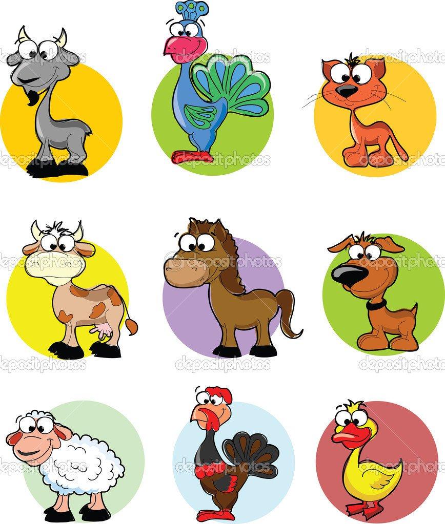 Conjunto De Animais De Fazenda De Vetor Dos Desenhos Animados