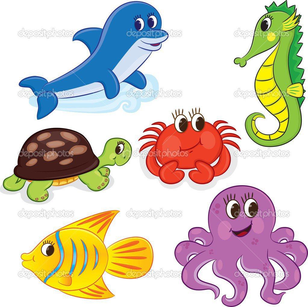 Conjunto De Animais Marinhos De Contorno Dos Desenhos Animados