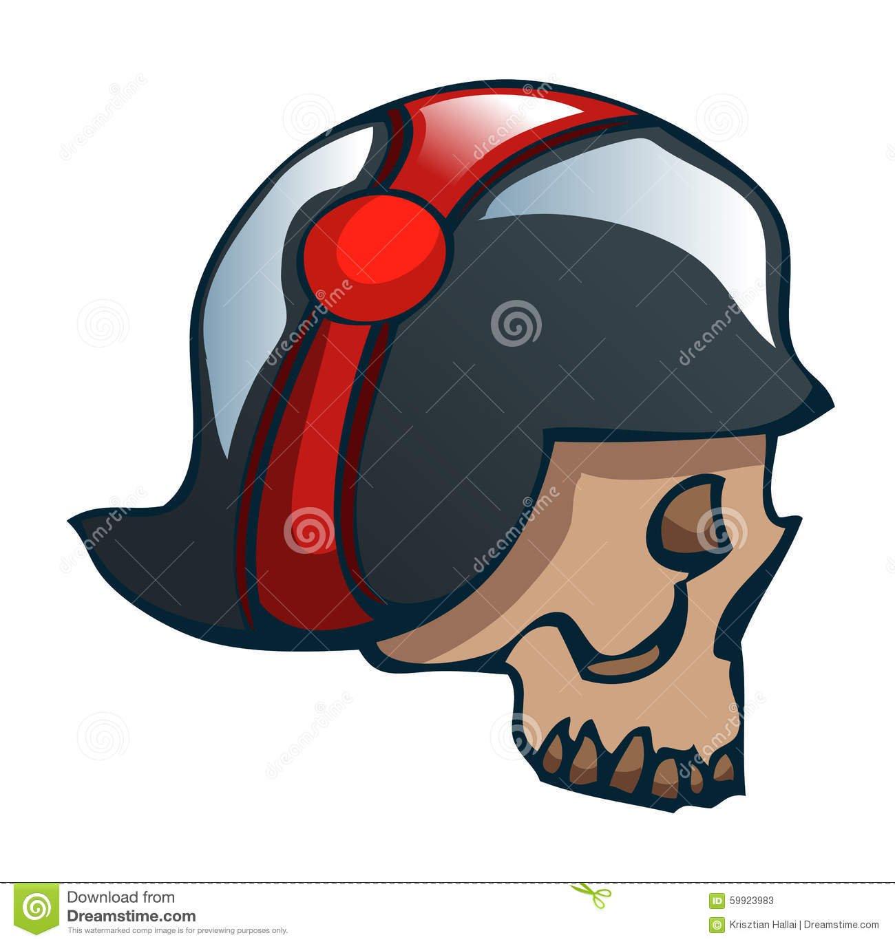 Crânio Dos Desenhos Animados Em Um Capacete Da Segunda Guerra