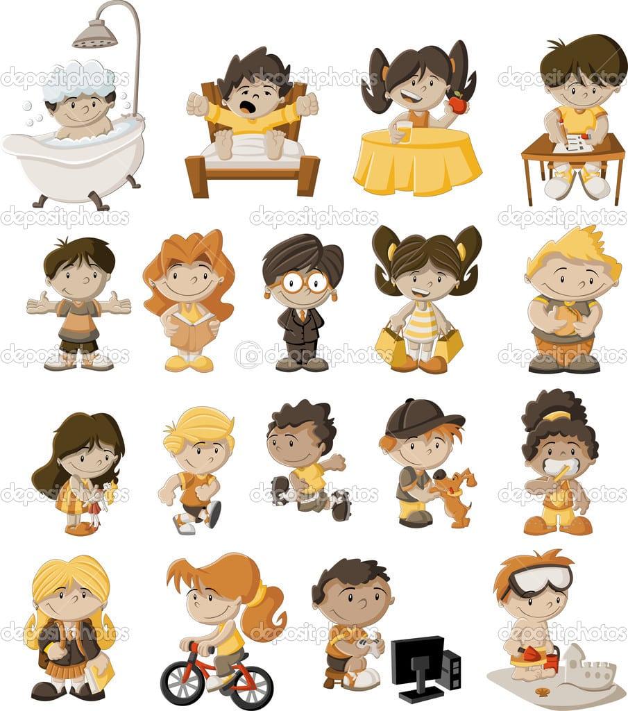 Crianças Desenhos Animados Brincando — Vetor De Stock