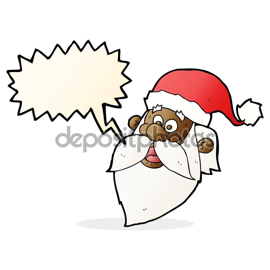 Desenho Animado Alegre Rosto De Papai Noel Com Bolha Do Discurso