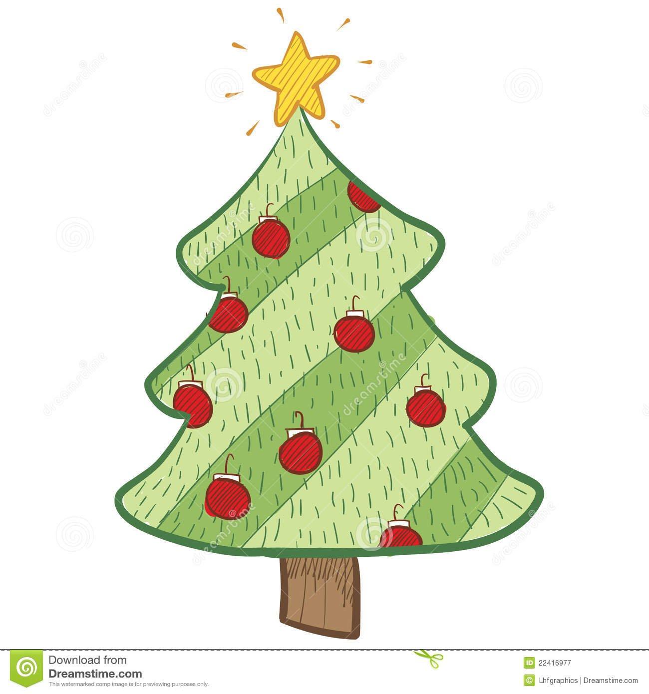 Desenho Colorido Da árvore De Natal Fotografia De Stock
