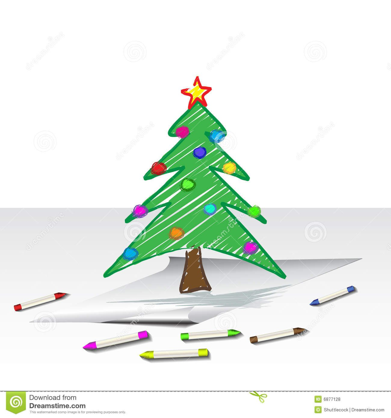 Desenho Da árvore De Natal Fotos De Stock Royalty Free