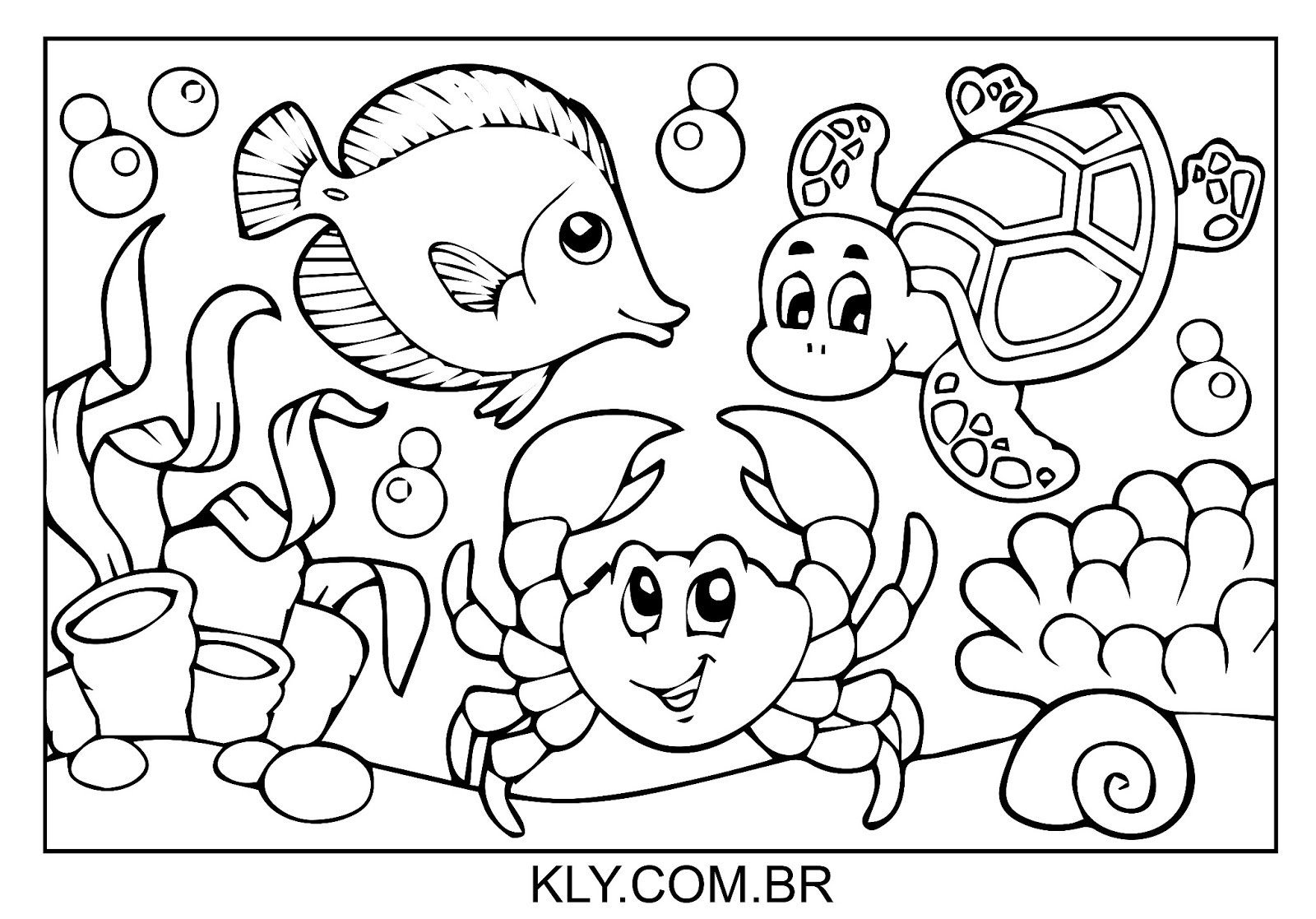 Desenho De Animais No Fundo Do Mar Para Colorir
