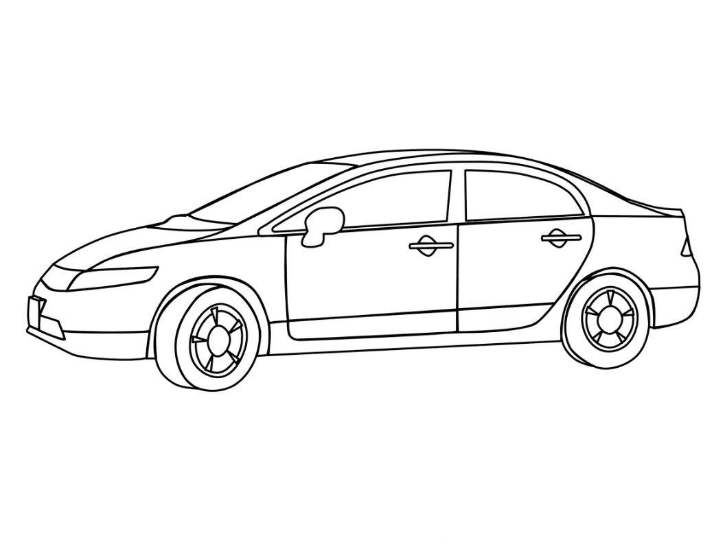 Desenho Para Colorir De Carros Disney: Desenho De Carro De 4 Portas Para Colorir