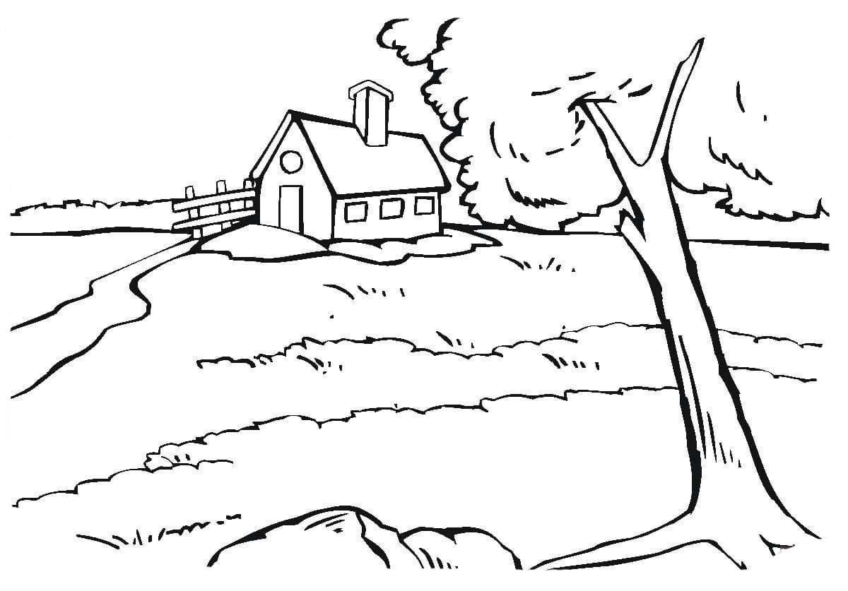 Desenho De Casa Na Beira Do Rio Para Colorir
