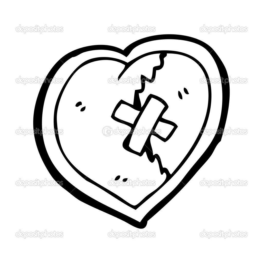 Desenho De Coração Partido — Vetor De Stock © Lineartestpilot