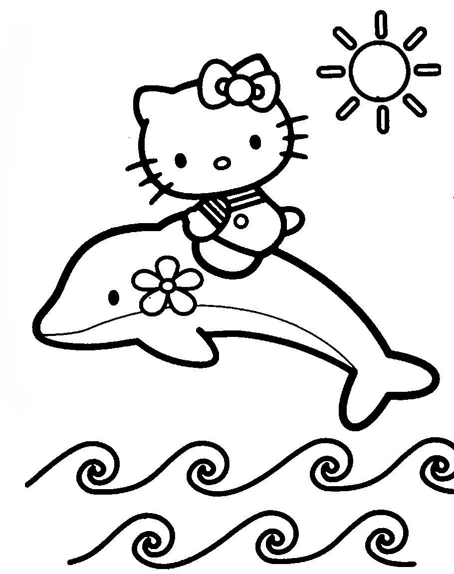 Desenho De Golfinho E Barbie Nadando Para Colorir