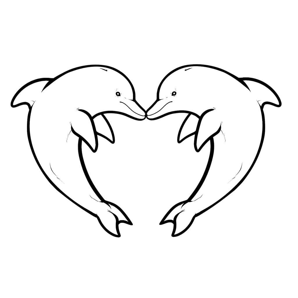Desenho De Golfinhos Namorando Para Colorir