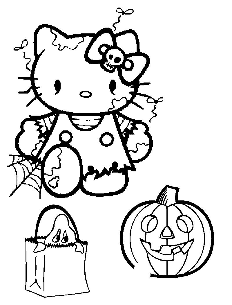 Desenho De Hello Kitty Festejando Halloween Para Colorir