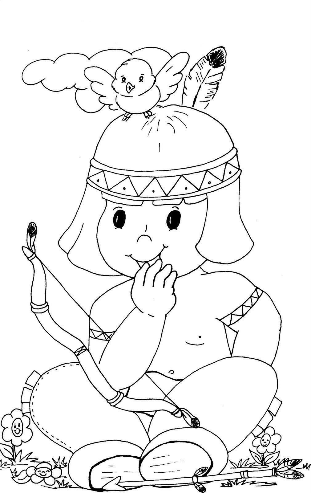 Desenho De Lindo índio Para Colorir