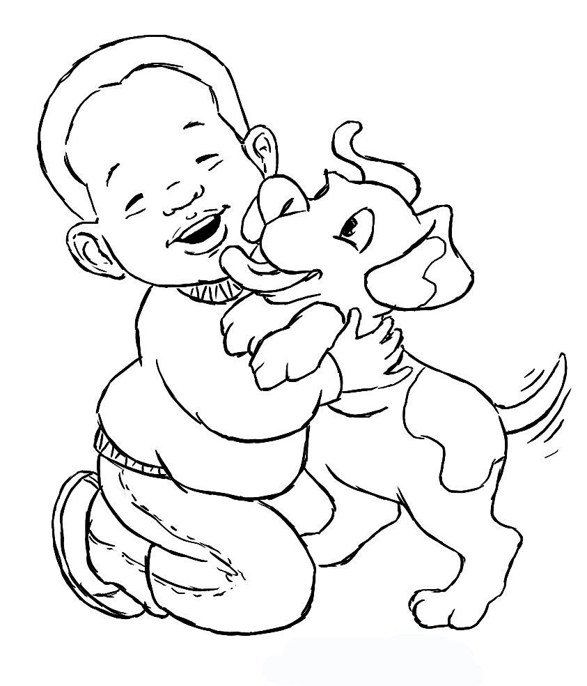 Desenho De Menino E Cãozinho Voltando Da Pescaria Para Colorir