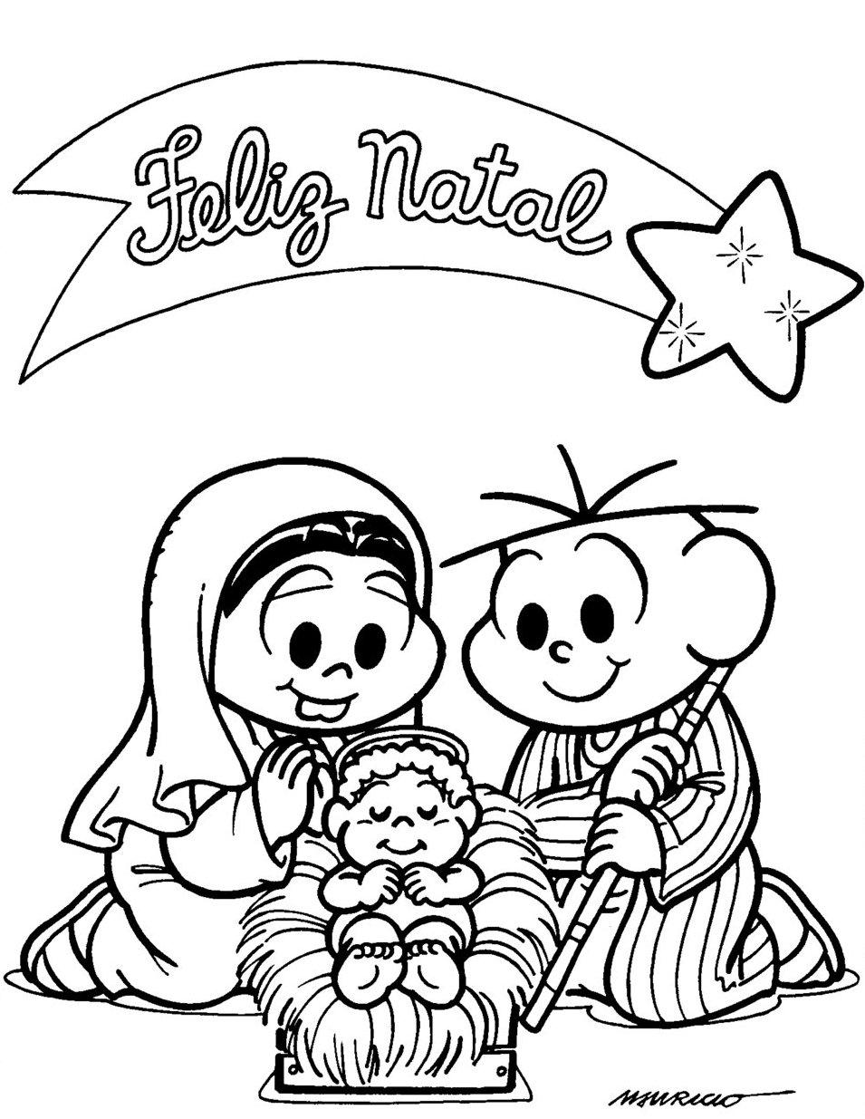 Desenho De Mensagem De Natal Da Turma Da Monica Para Colorir