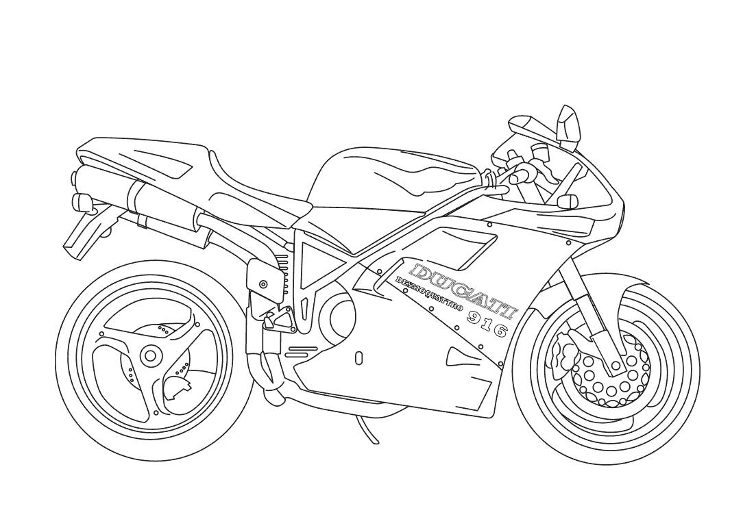 Desenho De Moto Linda Para Colorir
