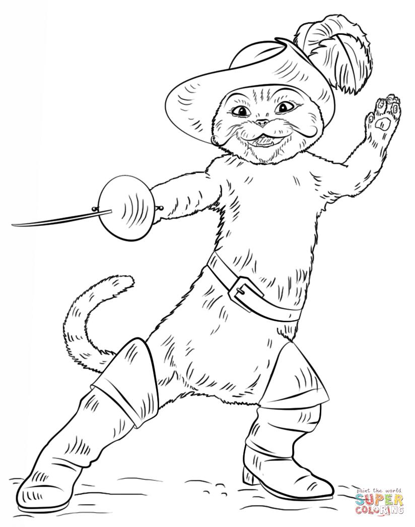 Desenho De O Gato De Botas Para Colorir