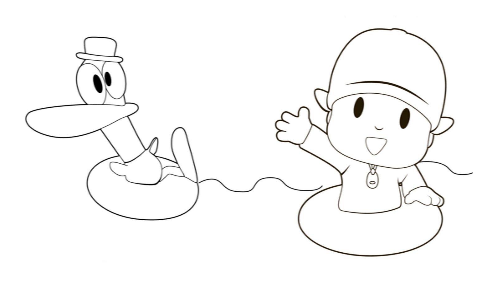 Desenho De Pocoyo E Pato Para Colorir