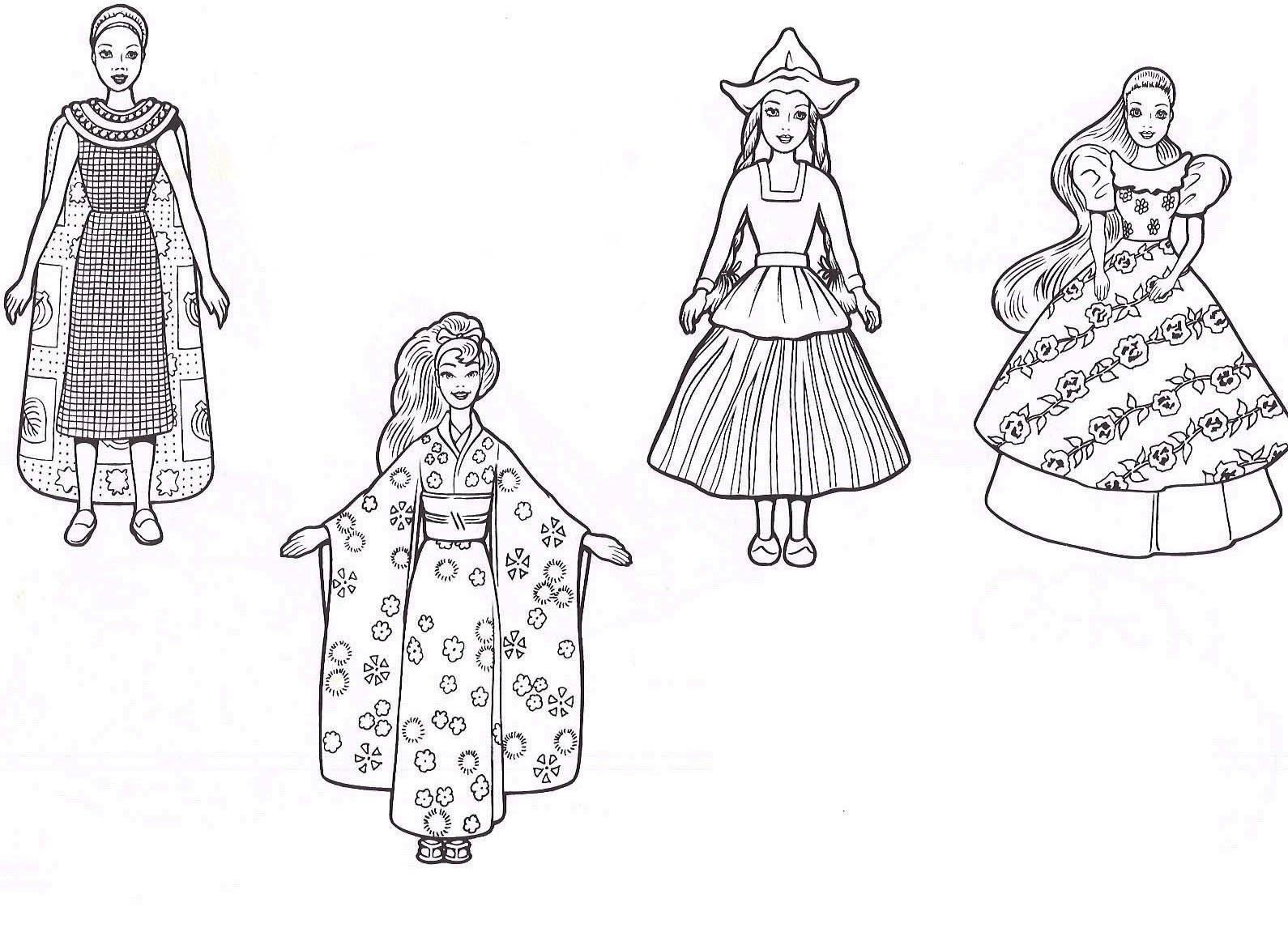 Desenho De Roupas Da Barbie Para Colorir