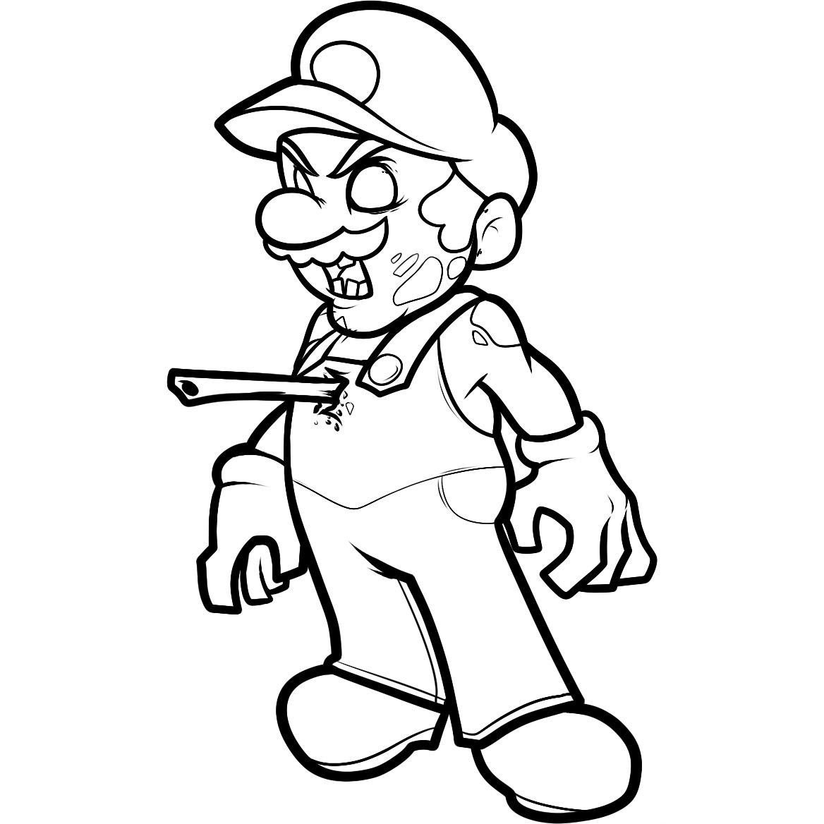 Desenho De Super Mario Zumbi Para Colorir
