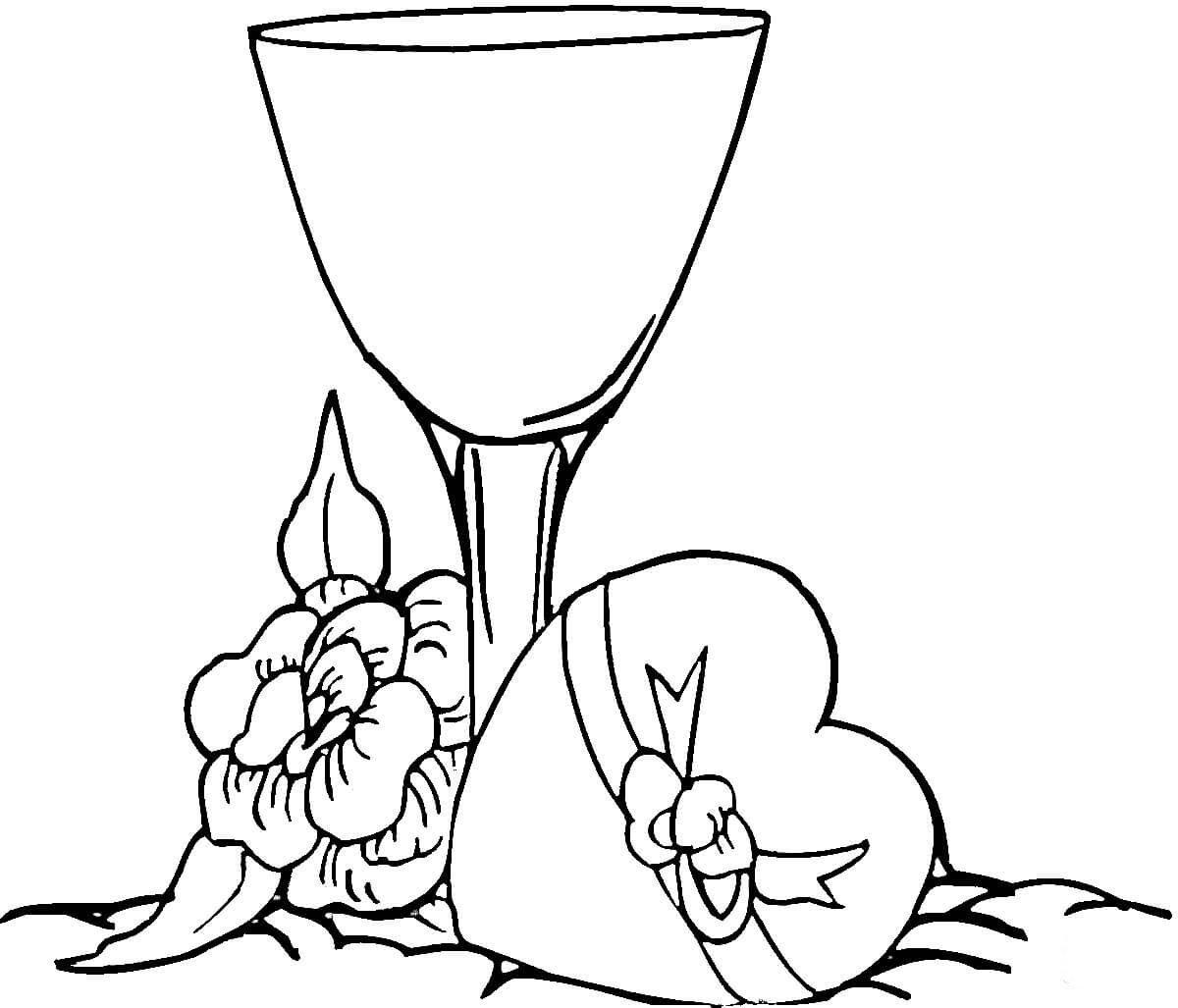 Desenho De Taça De Vinho Para Colorir