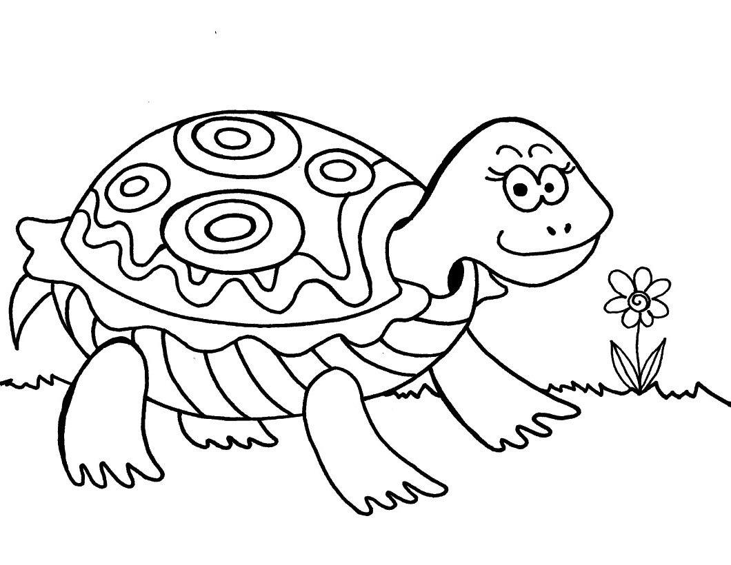 Desenho De Tartaruga Passeando Para Colorir