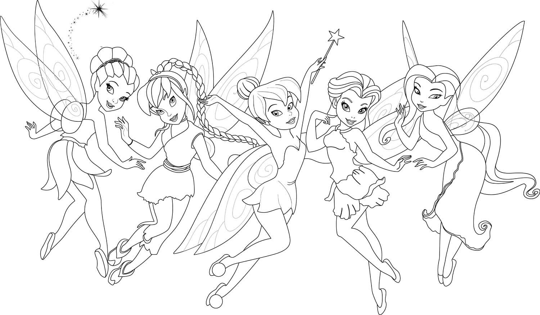 Desenho De Tinker Bell E Suas Amigas Para Colorir