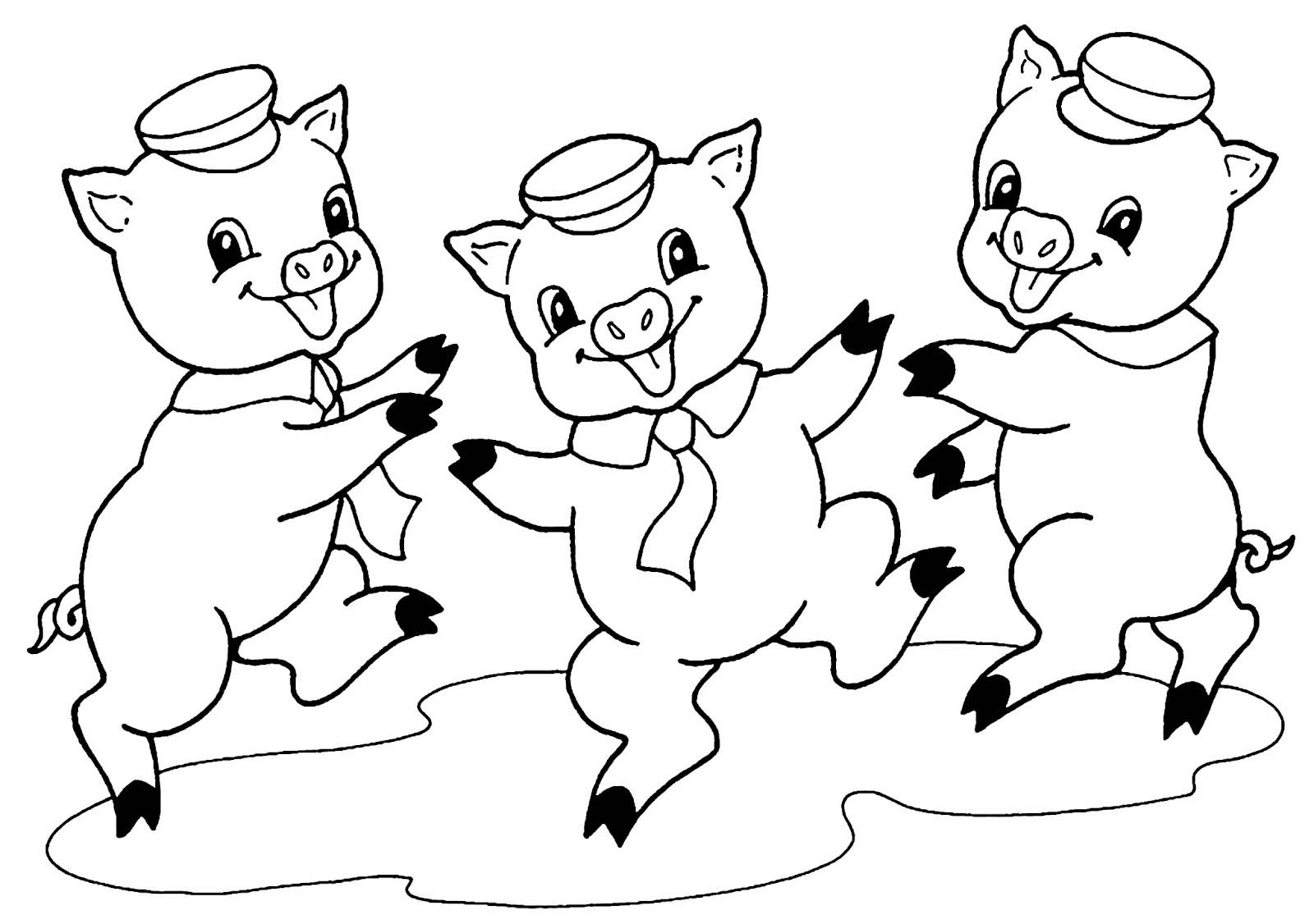 Desenho De Três Porquinhos Felizes Para Colorir
