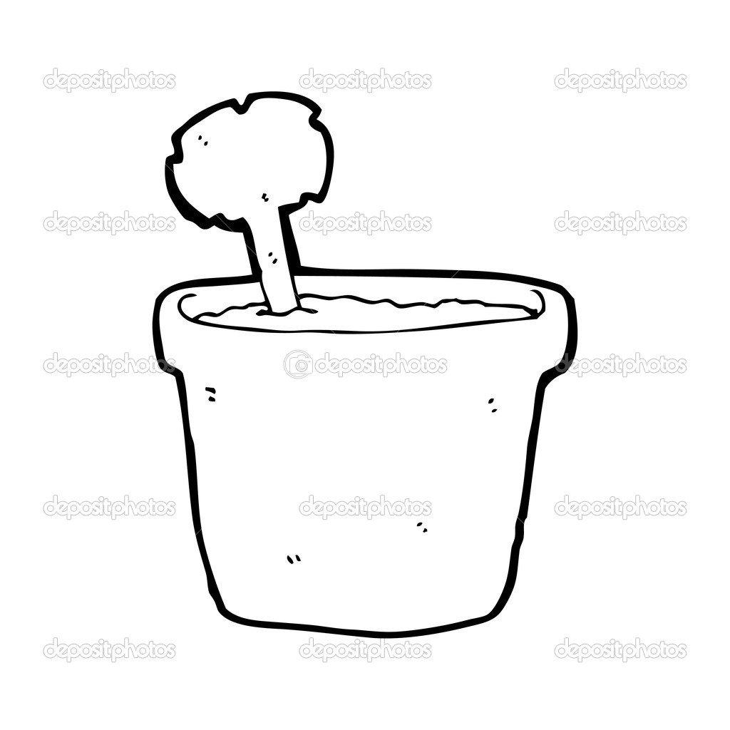 Desenho De Vaso De Flores — Vetor De Stock © Lineartestpilot  20078727
