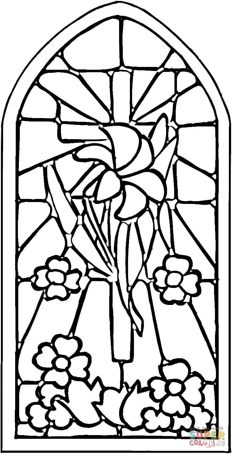 Desenho De Vitral Para Colorir
