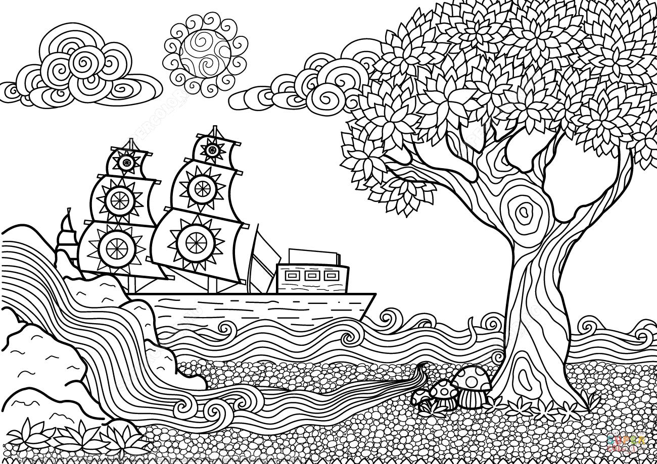 Desenho De Zentangle Paisagem Marítima Para Colorir