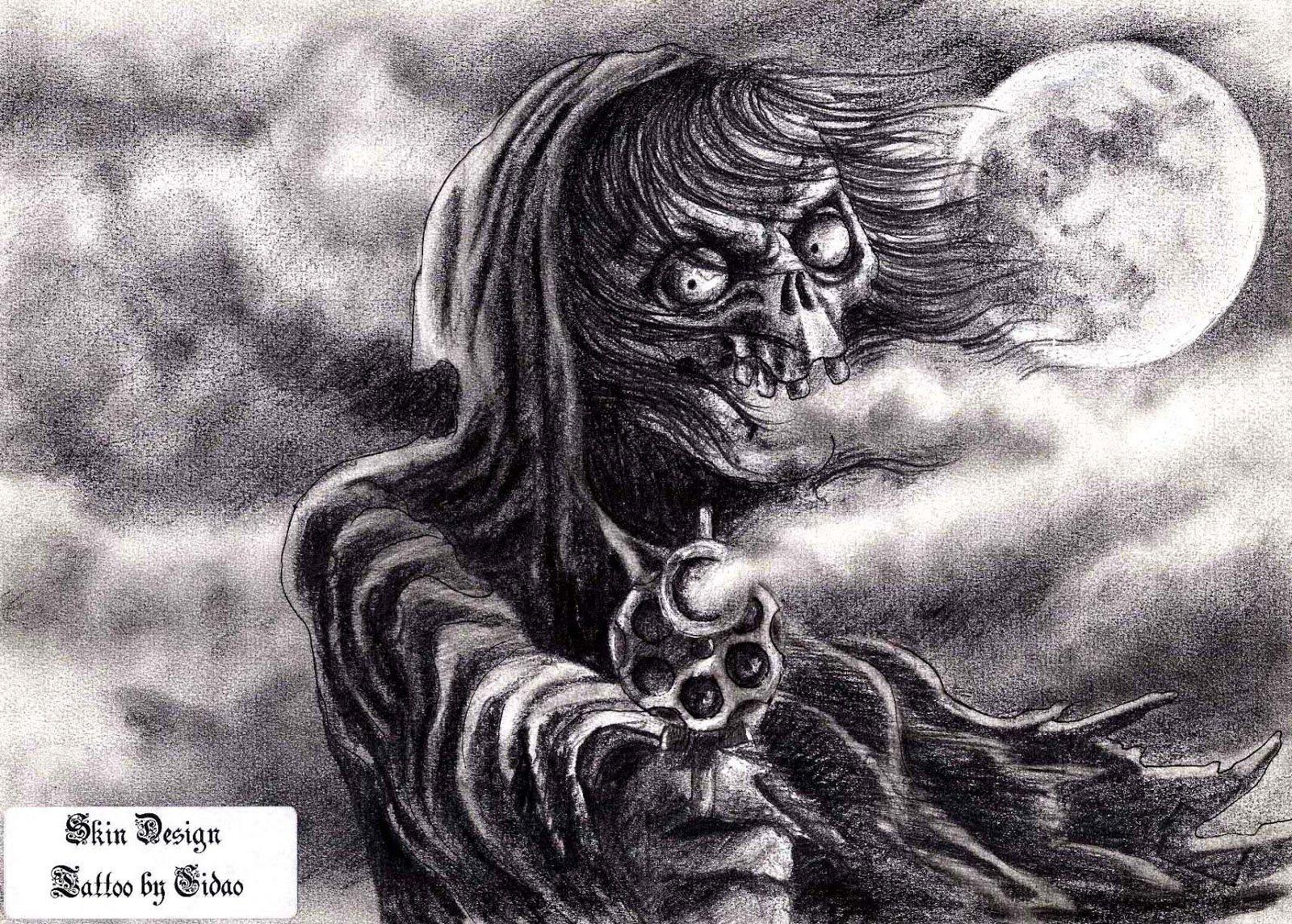 Desenhos , Fotos E Videos De Tattoo  Desenho Morte,revolver, Arma