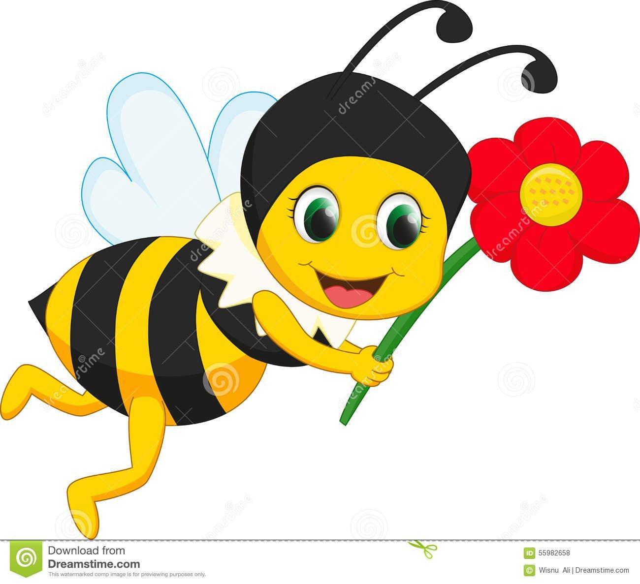 Desenhos Animados Bonitos Da Abelha Com Flor Vermelha Ilustração