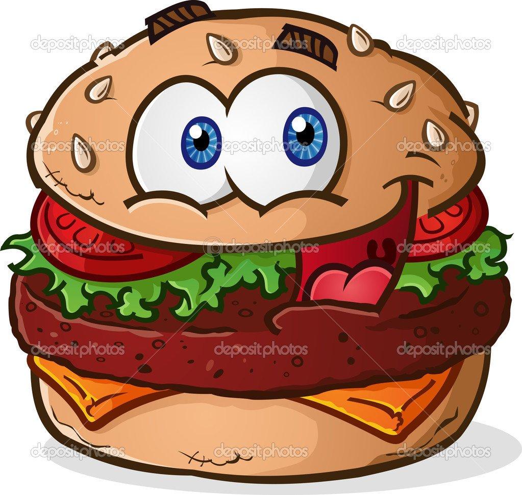 Desenhos Animados De Cheeseburguer Hambúrguer — Vetor De Stock