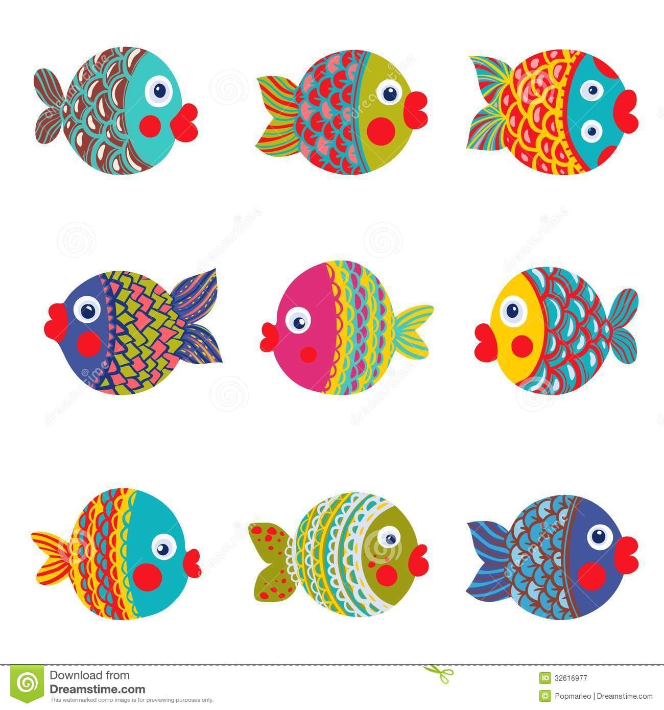 Desenhos Animados Gráficos Coloridos Da Coleção Dos Peixes