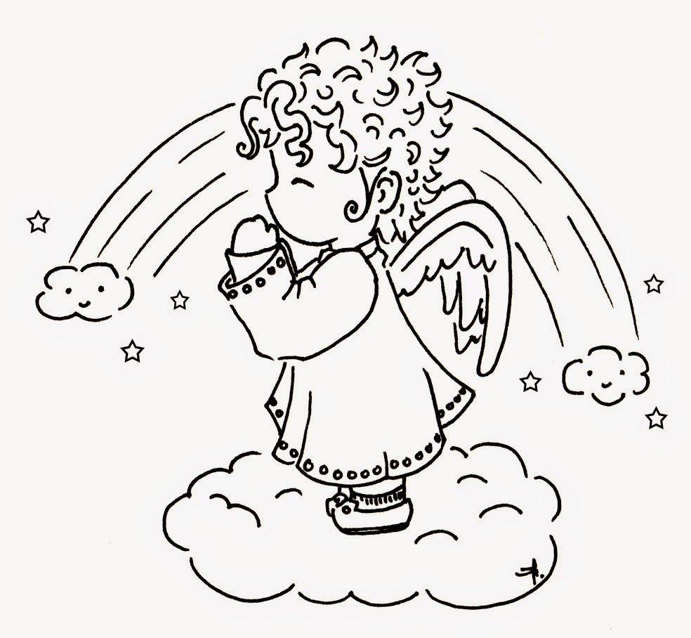 Desenhos De Anjos Para Colorir, Pintar, Imprimir E Preparar