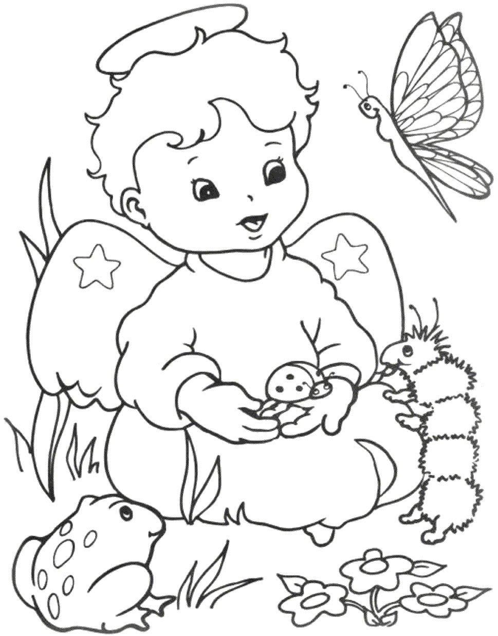 Desenhos Para Colorir De Anjinhos