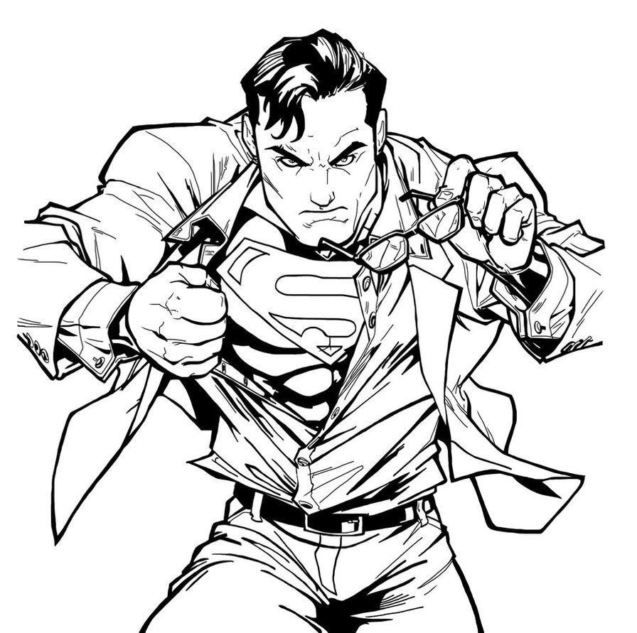 Line Art America : Desenho para colorir do superman