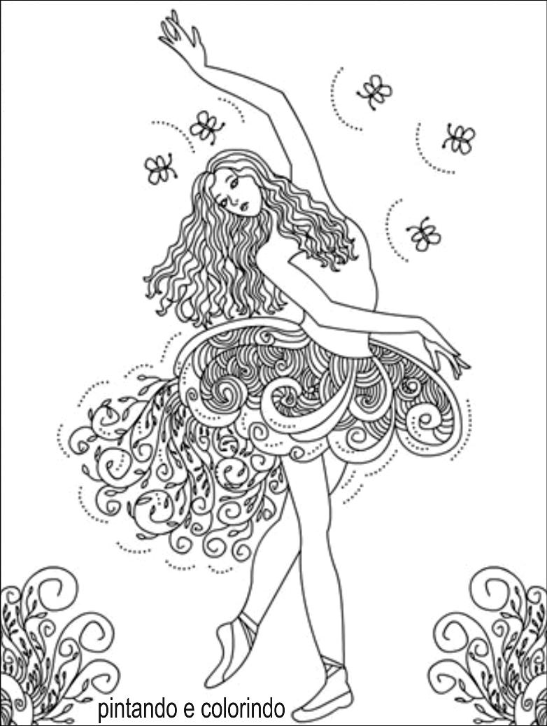 Desenhos Para Pintar  Desenhos De Bailarinas Para Colorir