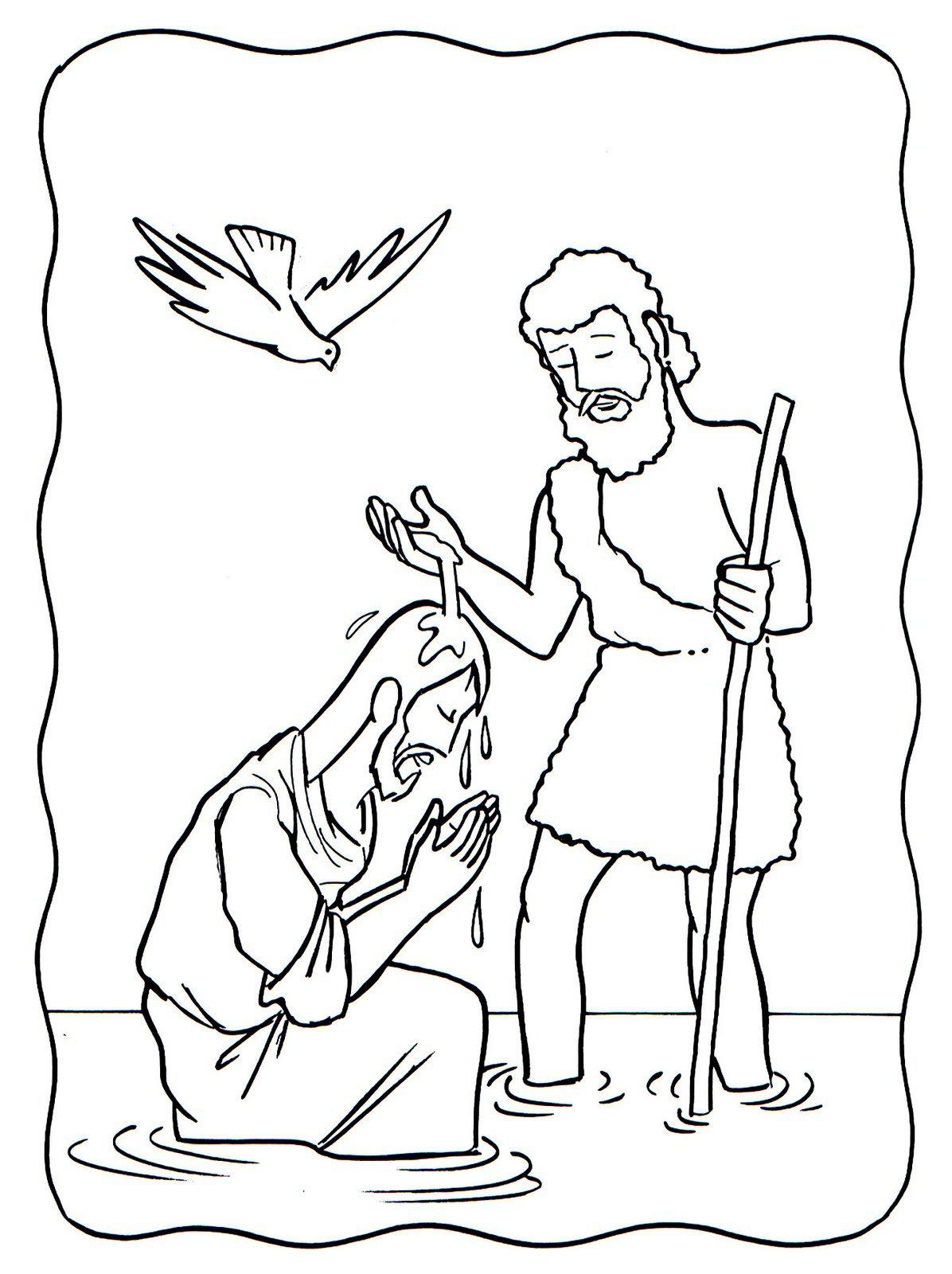 Dibujo Del Bautismo De Jesus Para Pintar Sketch Coloring Page