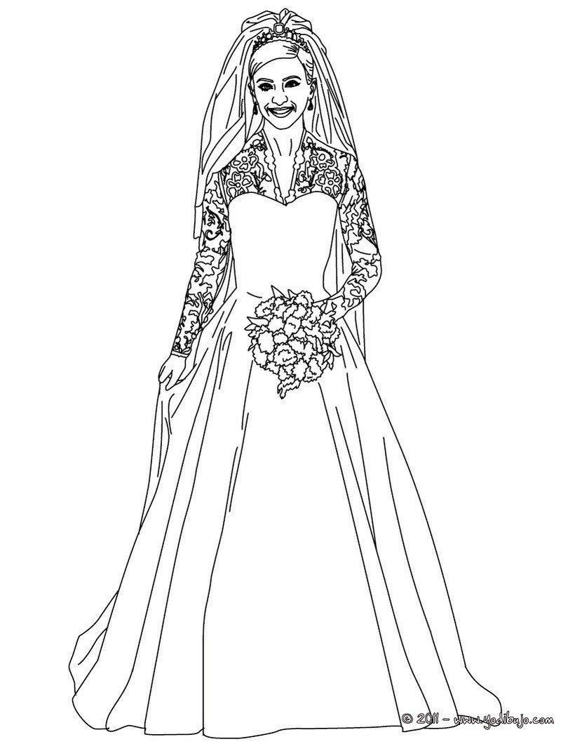Dibujos De La Princesa Kate Y William Para Pintar, Vestido De