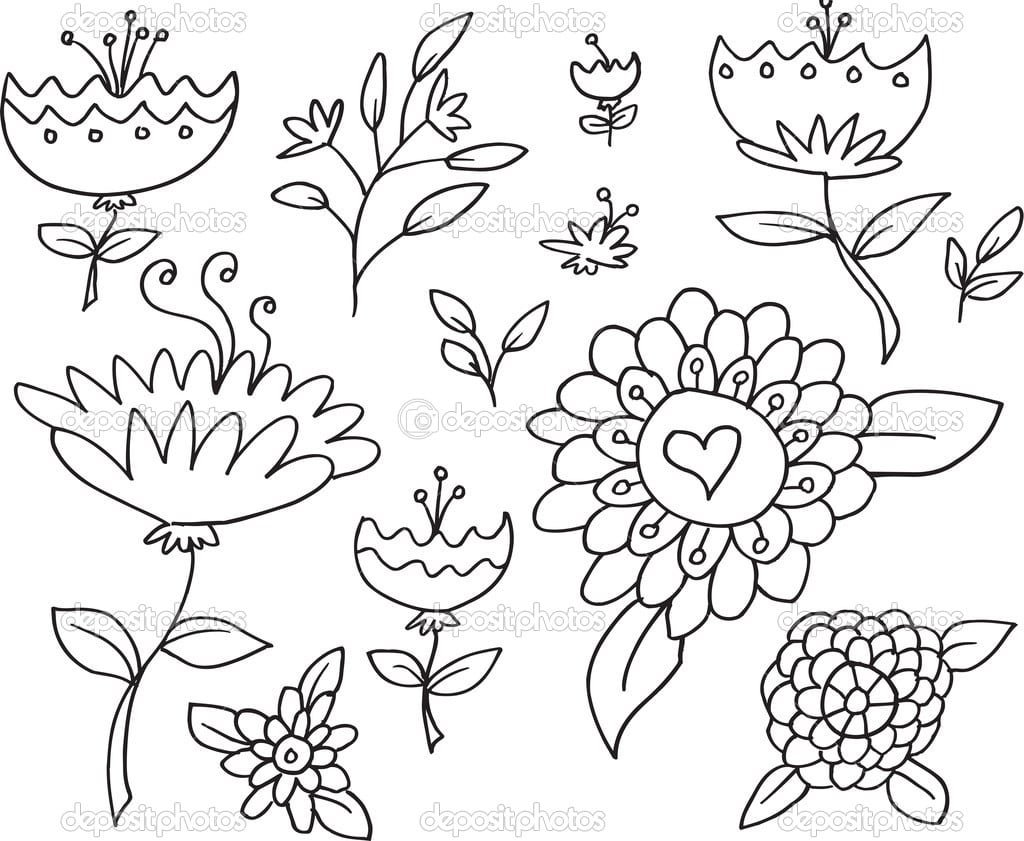 Doodle Desenho Flores Primavera Set Vector — Vetor De Stock