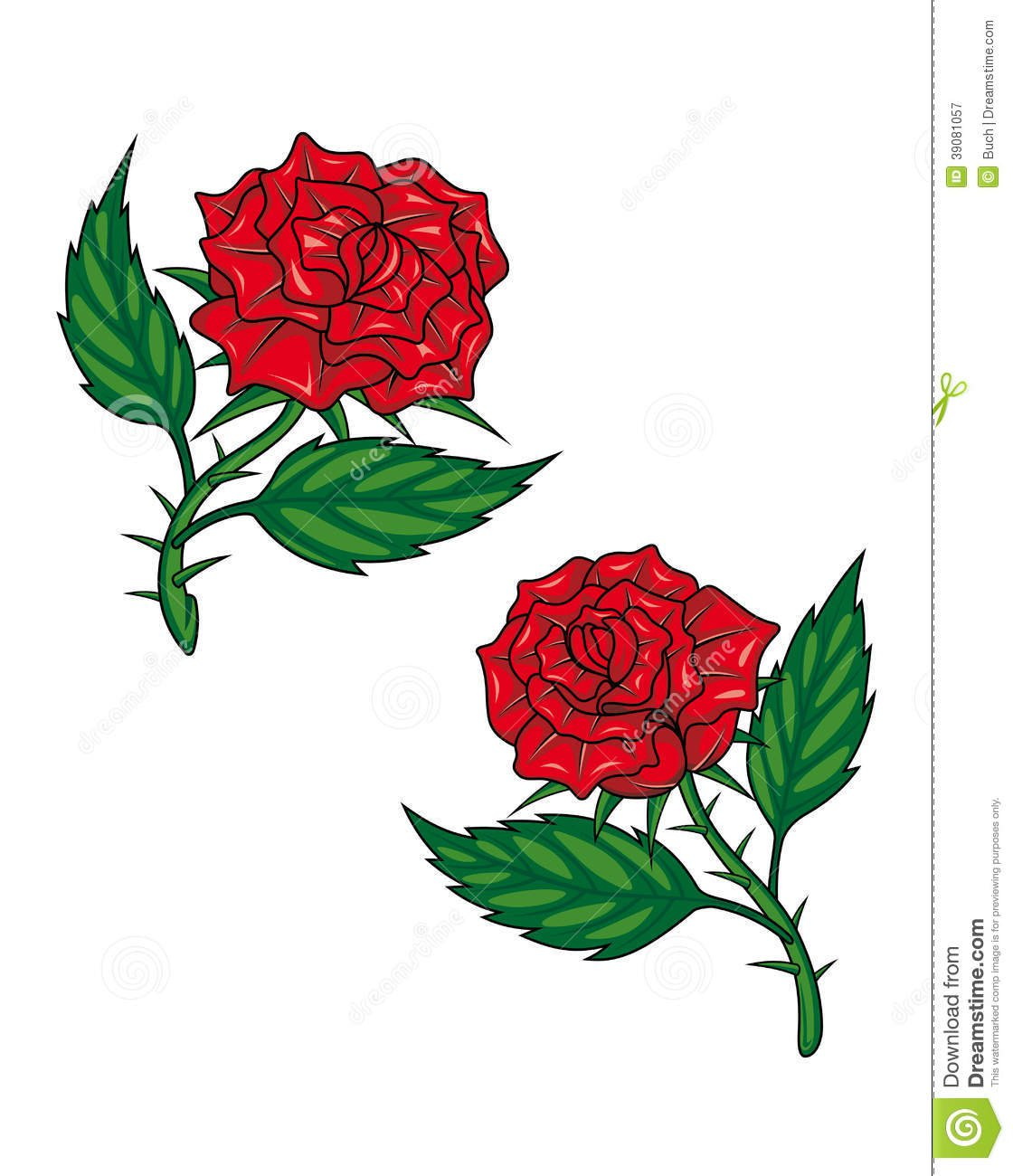Duas Rosas Vermelhas Dos Desenhos Animados Ilustração Do Vetor