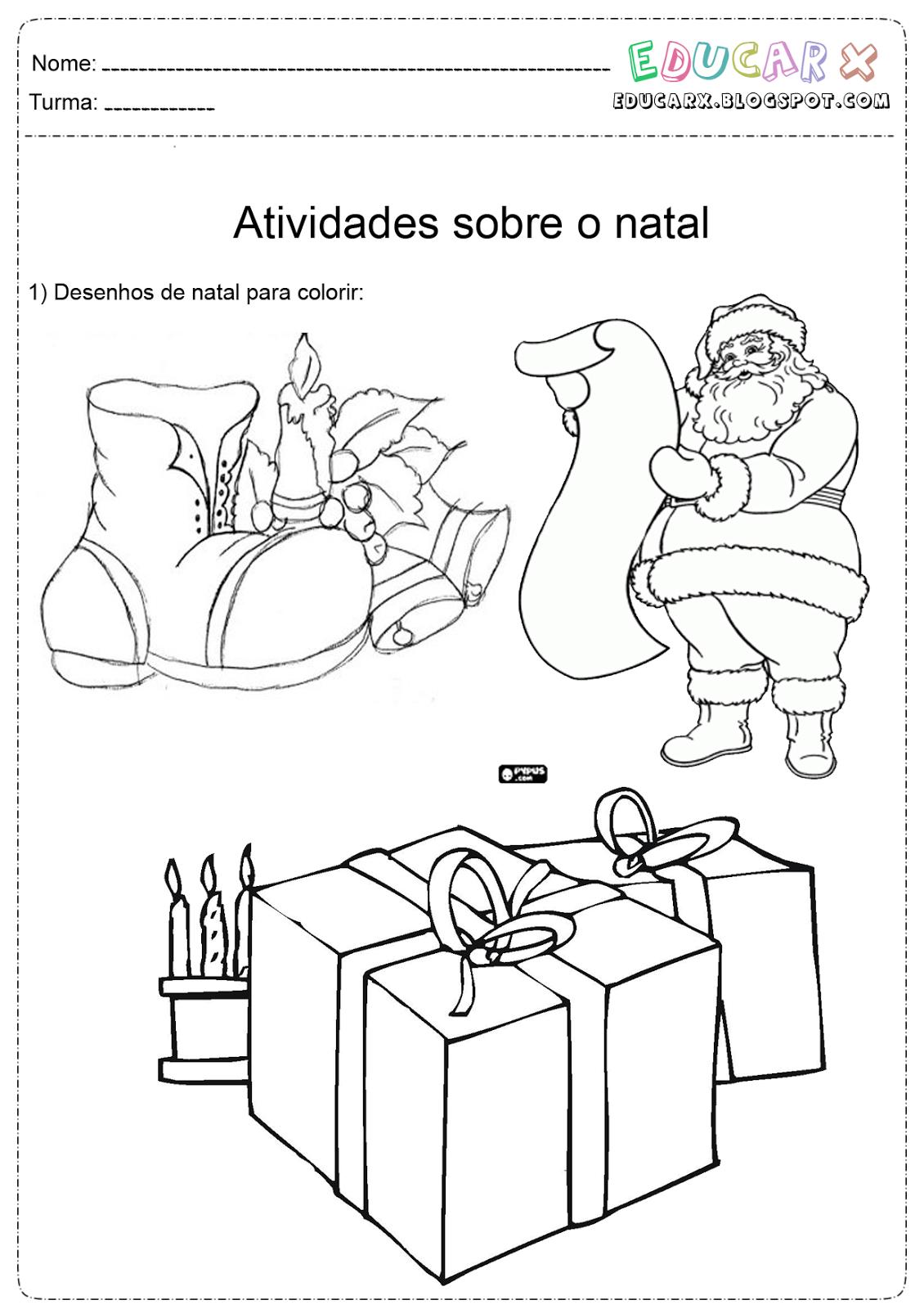 Educar X  Desenhos De Natal Para Colorir, Papai Noel, Arvore De