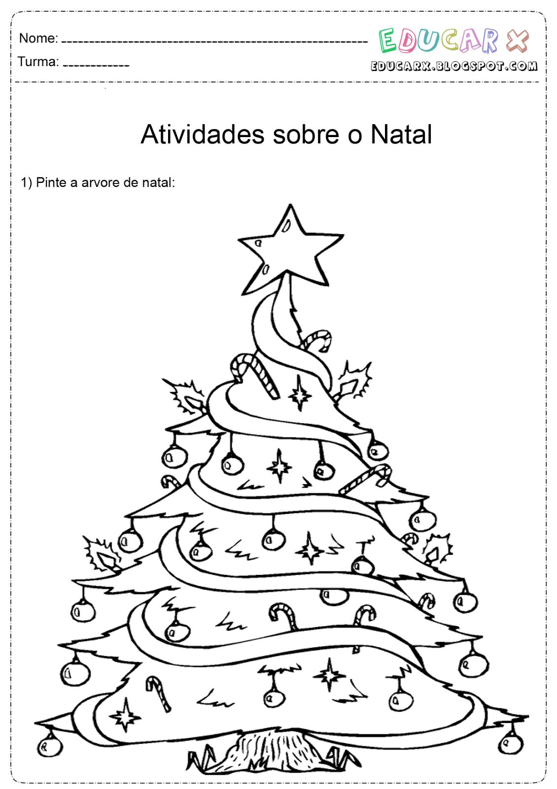 Educar X  Desenhos Para Colorir Arvores De Natal