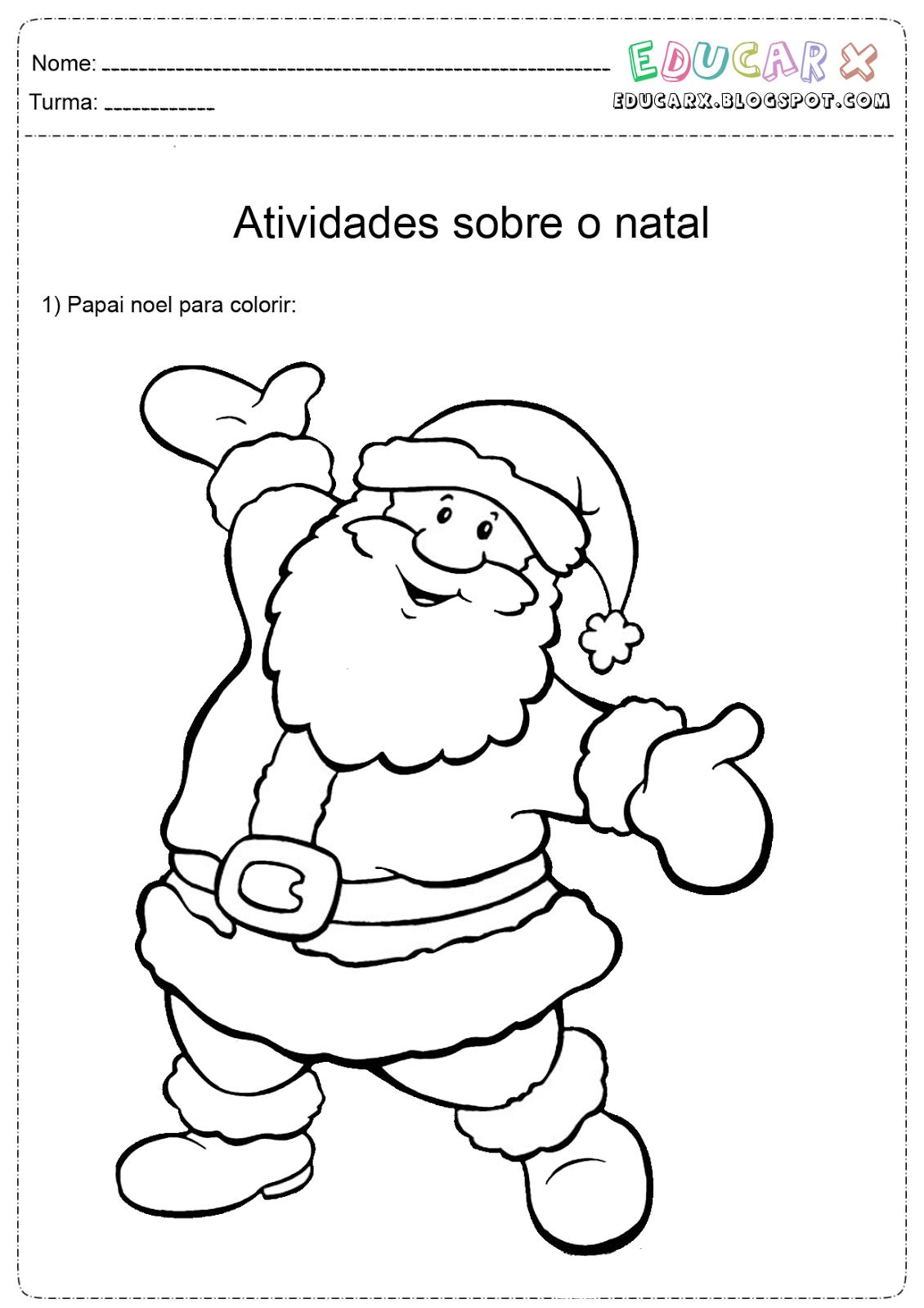Educar X  Papai Noel Para Colorir, Pintar E Imprimir