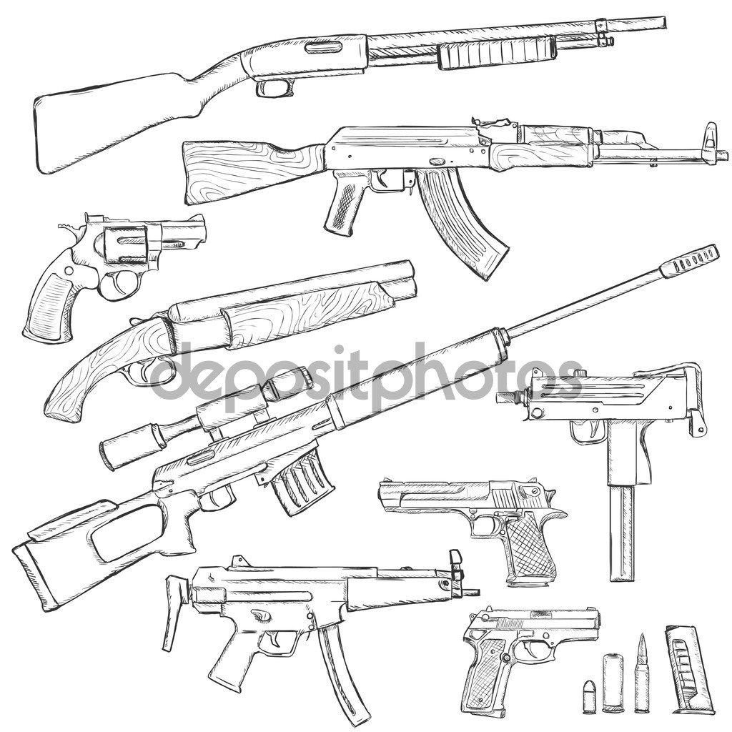 Esboce O Conjunto De Armas De Fogo — Vetores De Stock © Nikiteev