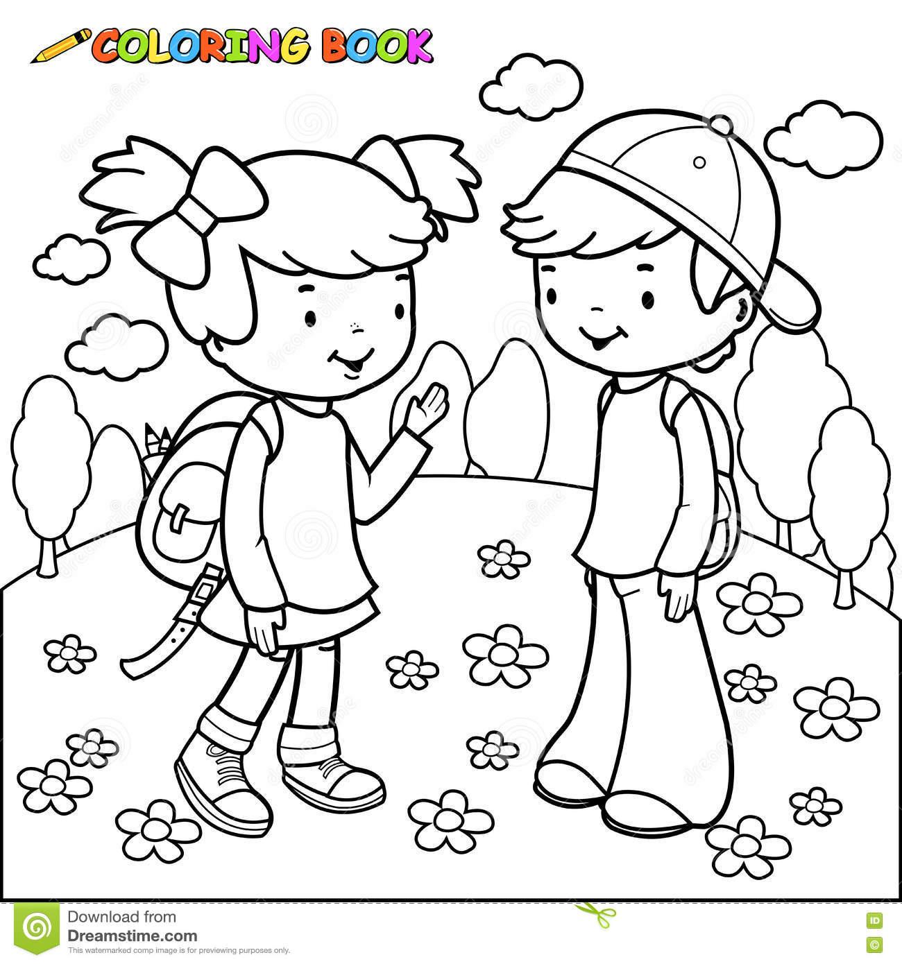 Estudantes Da Menina E Do Menino Do Livro Para Colorir Ilustração
